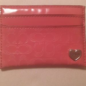 Authentic Coach pink card case